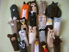 You choose 5 WOODLAND FRIENDS Furry Fingers by sweetmellyjane. $20.00, via Etsy.
