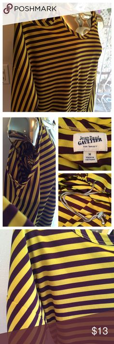 """Jean Paul Gautier Open Shoulder Striped Top Yellow/deep purple open shoulder Jean Paul Gautier for Target blouse. Size: Medium. 100% Polyester. Approx. 21"""" long. Approx. 26"""" pit to pit. Loose fit. Silver hardware at waist for gathering. Thanks for looking! Jean Paul Gaultier Tops Blouses"""