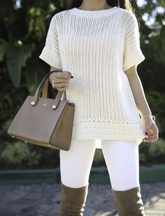 How to wear winter white and boots or narrow calves - winter white outfit, narrow calf over the knee boots, chunky knit sweater, stylish petite, petite fashion blog, fall outfit idea - click the photo for outfit details!