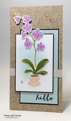 Featuring Hero Arts' Color Layering Orchid In A Pot SKU 728513 and Orchid In A Pot Frame Cuts SKU 728513, available at www.addictedtorubberstamps.com Card created by Stamp with Sandy.
