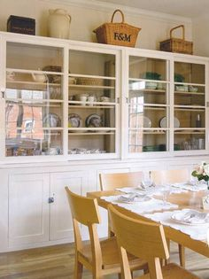 Todhunter Earle Interior Design Brabourne Farm: Cupboard Love - this cupboard is original in Emily's home Built In Cabinets, White Kitchen Cabinets, Kitchen Dresser, Wall Cabinets, Kitchen White, New Kitchen, Kitchen Dining, Dining Rooms, Kitchen Ideas