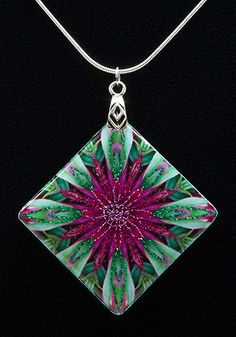 Instructions for making pendants from kaleidoscope-printed fabric and resin.  from the site that sells the software to make kaleidoscope prints from photos:  http://kaleidoscopecollections.com/blog/