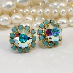 Turquoise Studs AB Gold Crystal Post earrings by TIMATIBO on Etsy