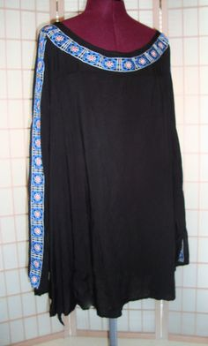 New Ava Viv Sz 4X Black Cold Shoulder Tunic Top W/ Blue/Pink Embroidery #AvaViv #Tunic
