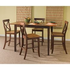 International Concepts Cinnamon/Espresso Dining Set With Rectangular Counter Table Counter Height Dining Table, Dining Room Table, Kitchen Tables, Counter Stool, Dining Rooms, Kitchen Dining, Butterfly Leaf Table, Real Wood Furniture, Unfinished Furniture