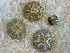 4 ANTIQUE ENAMEL/PAINTED BRASS BUTTONS~1 DOME-STYLE~1 PIERCED