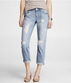 CROPPED ROLLED DESTROYED BOYFRIEND JEAN | Express