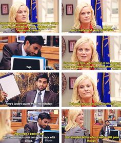 """Parks and Recreation Season One Episode 1: Pilot--- """"Leslie's quotes."""""""