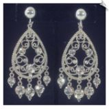 Vintage Style Silvertone Chandelier Clip On Earrings Accented with Clear Rhinestones 3 in $38 @ www.whimzgirlclipearrings.com