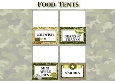 Army Birthday Party - FOOD LABELS - Printable Camo Army Decorations - Printable Food Tents - DIY Birthday Party