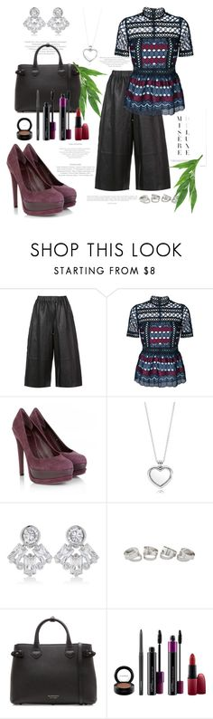 """""""crop pants.."""" by csfshawn ❤ liked on Polyvore featuring Robert Rodriguez, self-portrait, Christian Dior, Pandora, CZ by Kenneth Jay Lane, Burberry and MAC Cosmetics"""