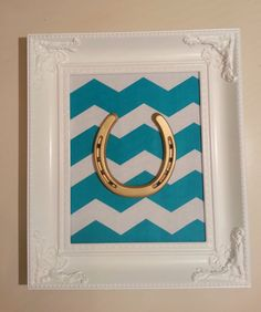 Framed Lucky Gold Painted Horse Shoe by LuckyPonyShop on Etsy