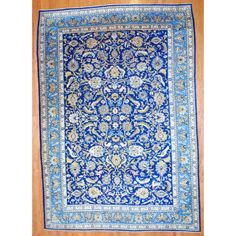 Interior,The Best Beautiful Blue Hand Knotted Wool Rug Design Inspiration With Nice Persian Ornament On Combined Brown Floor,Gorgeous Hand Knotted Wool Rugs Ideas