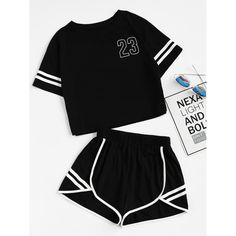 Shop Crop Varsity T-shirt And Contrast Binding Notch Shorts Set online. SheIn offers Crop Varsity T-shirt And Contrast Binding Notch Shorts Set & more to fit your fashionable needs. Mode Outfits, Outfits For Teens, Sport Outfits, Trendy Outfits, Girl Outfits, Summer Outfits, Fashion Outfits, Summer Dresses, Vetement Fashion