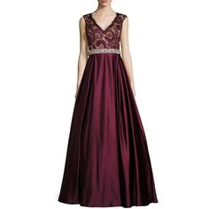 Jovani Sleeveless Embellished Lace & Satin Ball Gown ($356) ❤ liked on Polyvore featuring dresses, gowns, burgundy, burgundy dress, purple dress, purple gown, burgundy gown and purple evening dresses