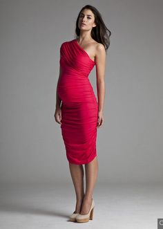 red maternity bridesmaid dress