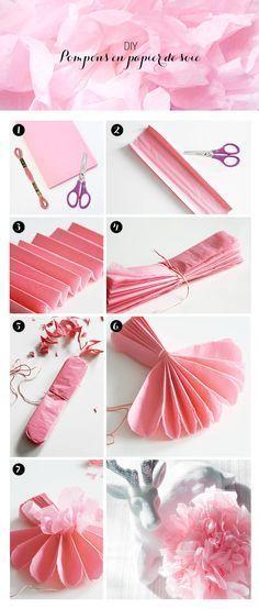 (2 décembre) SURPRISE DU JOUR: DIY pompon en papier de soie ! A découvrir sur le blog Edmée bijoux : http://www.edmee-bijoux.com/blog/diy-les-pompons-en-soie/