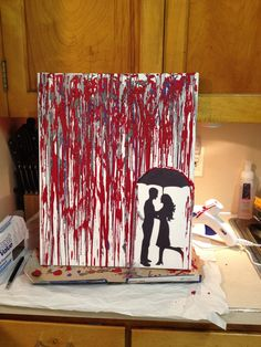 Crayon art.  Melt crayons in the oven for 2-3 minutes and spoon it over the canvas!