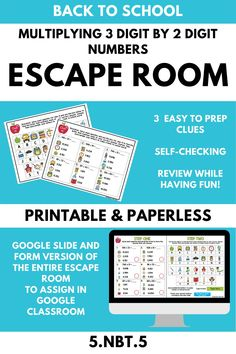 This BACK TO SCHOOL escape room is an engaging review for multiplying 3 digit by 2 digit numbers (5.NBT.5)! It can be printed or used digitally in Google Classroom or in programs that Microsoft PowerPoint, such as Microsoft Teams! All clues are self-checking. 5th Grade Teachers, 5th Grade Math, Math Stations, Math Centers, School Resources, Math Resources, Elementary Math, Upper Elementary, Kids Math Worksheets
