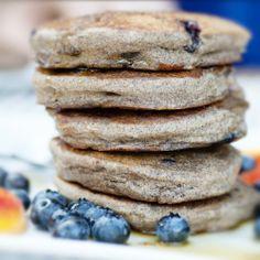 Blueberry Banana Buckwheat Pancakes (gluten free, egg free)
