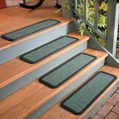 Rubber Back Stair Treads Indoor Outdoor Set Of 4 Welcome Traction Step Mat  Rugs