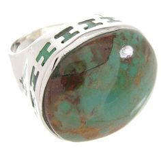 Genuine Sterling Silver Kingman Turquoise Inlay Ring Size 6-1/4 OS59900