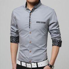 0e597fd457 2017 New 5XL Cotton Casual Mens Shirt Print Colla Dress Shirts Slim Fit Men  Long Sleeve