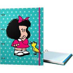 Carpeta 4 anillas con goma y recambio de 160 hojas, de Mafalda. Su precio; 10.50 euros.