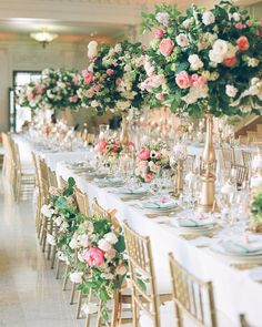 Photographer: Annie McElwain Photography, Via Amy Burke Designs; Stunning pink and green floral designs and gold wedding reception;