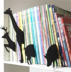 organizing kids books by category -- Animal Book Dividers add a cool element to your bookshelf! Organizing Kids Books, Book Organization, Organize Kids, Book Storage, Modern Kids Decor, Book Dividers, Shelf Dividers, Eclectic Books, Animal Silhouette