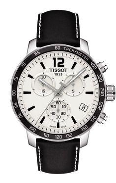 Tissot Quickster Men's Quartz Chronograph Silver Dial Watch with Black Leather Strap