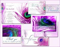 PEACOCK WEDDING INVITATION Printable Template Purple by ABandIG