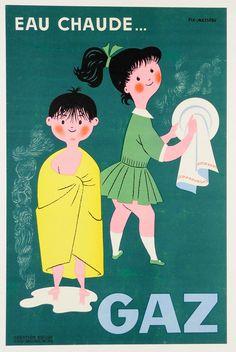 "Original Vintage French Advertising Poster ""GAZ"" by Fix Masseau CA 1960"
