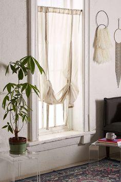 Living Room: pretty & feminine - inside window. Draped Shade Curtain