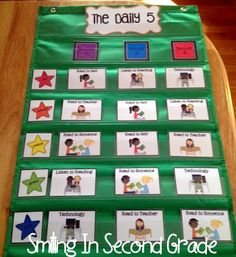 Smiling in Second Grade:  Pocket chart set-up for The Daily 5 rotations.