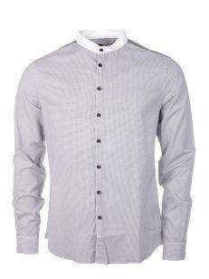 Villain Dave Grandad Collar Shirt Grey £70