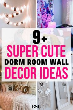 I had no idea how to decorate my dorm room wall until I saw this post! I'm obsessed with these dorm room wall decor ideas and can't wait to use them. Pink Dorm Rooms, Boho Dorm Room, Dorm Room Walls, Cute Dorm Rooms, Room Wall Decor, Dorm Room Layouts, Dorm Room Designs, College Dorm Organization, College Dorm Decorations
