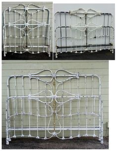 """These three photo's show the transformation of one of our double size antique iron bed, in to a modern king size. The last photo is with our """"White Chipped"""" finish. Antique Iron Beds, King Size, Clothes Hanger, Antiques, Modern, Coat Hanger, Antiquities, Antique, Trendy Tree"""