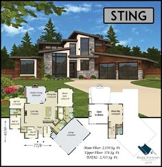 """Sting"" from Mark Stewart Home Design is one of our most exciting homes to date. With rakish good looks, incredible amounts of light, and a 16 foot great room ceiling, this home offers great curb appeal and an open, comfortable floor plan. See more at http://markstewart.com/"