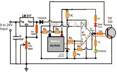 High Current Universal Battery Charger Circuit with Fixed Resistors Lead Acid Battery Charger, Battery Charger Circuit, Automatic Battery Charger, Universal Battery Charger, Electronic Circuit Projects, Electronic Engineering, Diy Electronics, Electronics Projects, Electrical Circuit Diagram