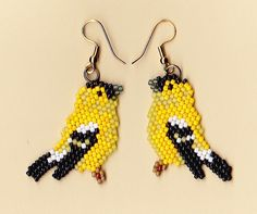 Beaded Gold Finch Earrings | NativeWorksJewelry.com