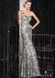 Shop NEW 2014 Alyce Paris 5595 silver floral sequin strapless prom dresses available now at RissyRoos.com..