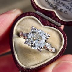 1930's 3 Carat Old Mine Cut Diamond Engagement Ring Platinum