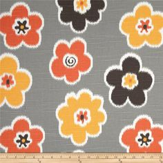 Premier Prints Ikat Petals Slub Chili Pepper from Screen printed on cotton slub duck (slub cloth has a linen appearance), this versatile medium weight fabric. Colors include tangerine, white, orange, charcoal and grey. Kitchen Fabric, Premier Prints, Ikat Fabric, Fabulous Fabrics, Home Decor Fabric, Vintage Ephemera, Fabric Swatches, Wall Colors, Fabric Design