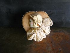 Antique Wooden Heart Shaped Jewelry Box Porcelain Flapper Face Lace Pearls