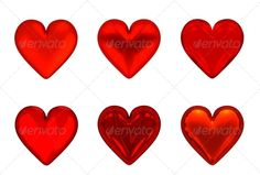 3D Red Hearts - Set