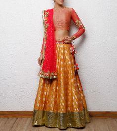 Love the kaam on the edges of the dupatta-Yellow Chanderi and Brocade Lehenga Set by Tanushree Indian Bridal Lehenga, Indian Bridal Wear, Indian Wear, Brocade Lehenga, Lengha Choli, Sarees, Anarkali, Indian Dresses, Indian Outfits