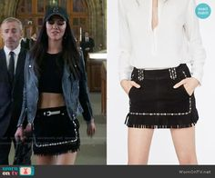 Princess Eleanor's black studded mini skirt with fringed hem on The Royals.  Outfit Details: http://wornontv.net/54736/ #TheRoyals