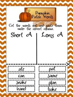 These fall themed cut and paste worksheets focus on distinguishing between short and long vowel sounds. There is one worksheet for each vowel. The font used on this item came from kevinandamanda.com.Clipart came from all-free-download.com.If you enjoy this product, please rate it and follow me!