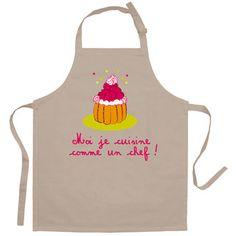 Tablier de cuisine enfant je suis comme un chef 100% coton 52x63cm PEPS II